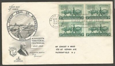Us Fdc 1949 Minnesota Territorial Centennial 3C Stamp First Day Of Issue Cover