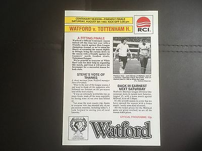 Watford v Tottenham Centenary Season Friendly Aug 92 Mint Condition