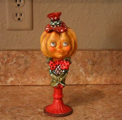 Original Ooak Clay Sculpture Folk Art Pumpkin Man Handsculpt Fall Halloween