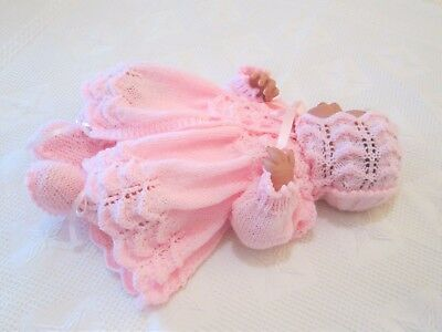 """Hand Knitted Dolls Clothes 3 pce Matinee set to fit 18/20"""" Baby Girl"""
