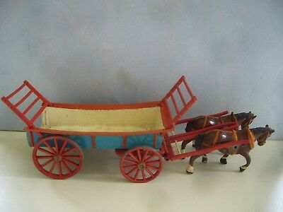 Vintage 1951 Crescent Lead Four Wheel Farm Cart & Horses Hay Ladders