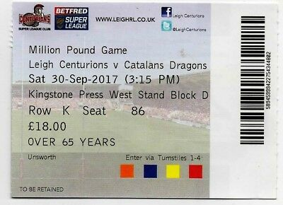 2017-Leigh V Catalans Dragons-30/9/17-Million-£1M Pound Game-Rugby League Ticket