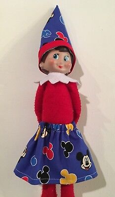 Christmas Elf Girl Doll Clothes Skirt & Hat Blue Disney Mickey Mouse Ears Faces