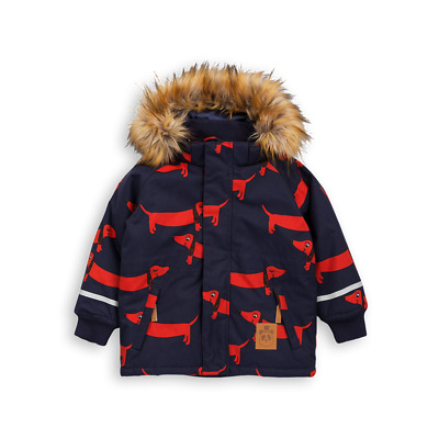 NWT Mini Rodini Kid's Navy K2 Dog Parka Jacket with Faux Fur Trim