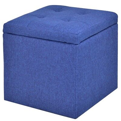 Stupendous Portable Retro Blue Square Foot Stool Storage Ottoman Living Gamerscity Chair Design For Home Gamerscityorg
