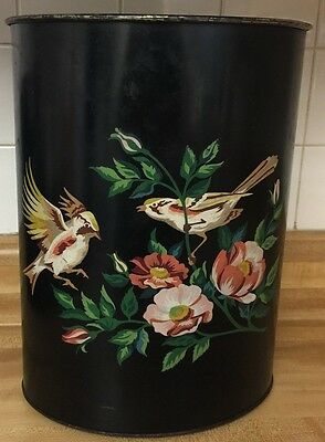 Antique Tole Garbage Trash Can Black Birds Floral Flowers Handpainted Toleware