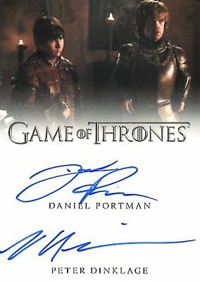 Game Of Thrones Valyrian Steel DUAL AUTOGRAPH card PORTMAN & PETER DINKLAGE