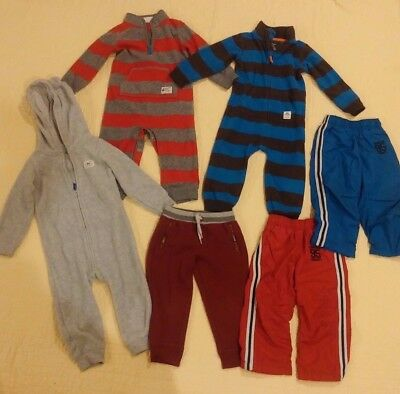 Lot 24 months Carters Fleece Jumpsuits Coveralls Lined Pants  Winter Fall Boys