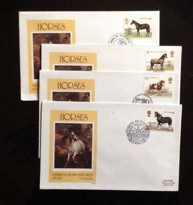 G.B.1978 HORSES on 4 SINGLE STAMP FDC's by BENHAM