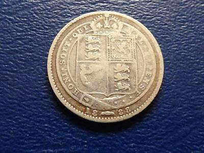 Queen Victoria Sterling Silver Shilling 1888 Great Britain Uk