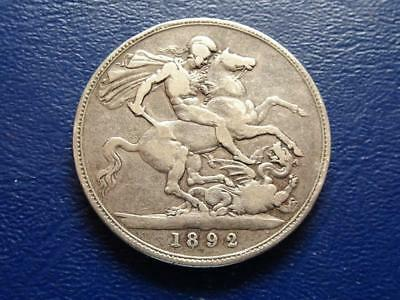 Queen Victoria Sterling Silver Crown 1892 Great Britain Uk