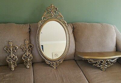 Vintage Burwood mirror candleholders and shelf Read