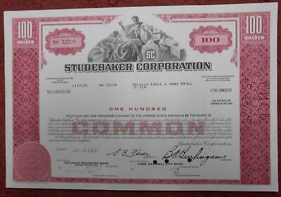 31424 USA 1967 Studebaker Corporation 100 shares certificate