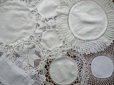 Group 8 Vintage Cream White Hand Worked Lace Edge Damask Table Centre Doily Mats