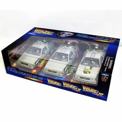 Welly 1:24 WL224003 BTTF Back To The Future Delorean Car 1, 2, 3 Trilogy Set