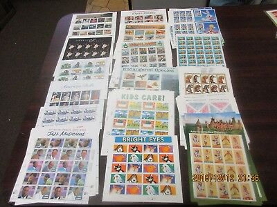 32 cent full sheet lot from 1995 to 1998, Face Value $599.36, Mint NH