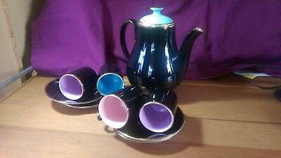 Royal Worcester Palissy 'Madeleine' Harlequin Coffee Set