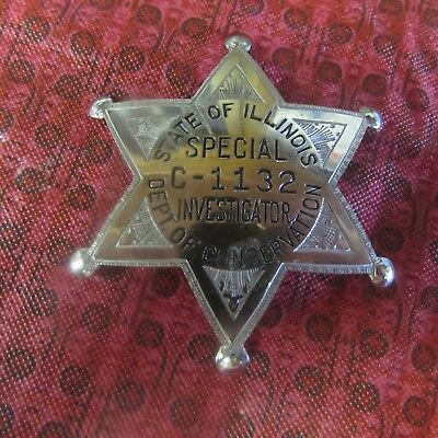 Obsolete Numbered Star Badge State Illinois Dept of Conservation Investigator