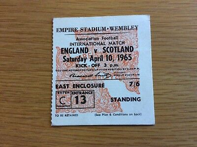 Original Ticket: 1965 England V Scotland. @ Wembley