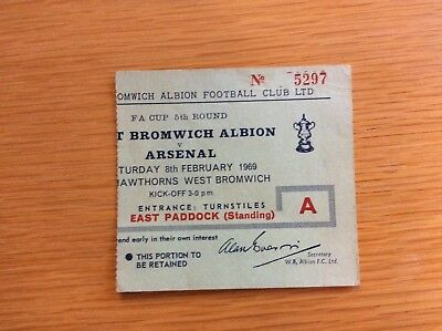Original Ticket: 1968/9 West Brom v Arsenal    FA Cup Rd 5