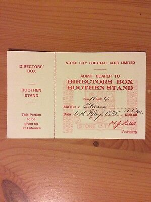 Original Ticket: 1984/5 Stoke City v Chelsea.   Div 1