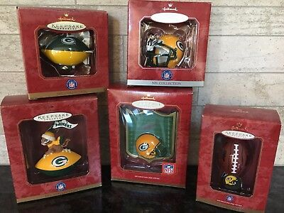 Green Bay Packers Hallmark Keepsake Ornaments NFL Collection - Lot of 5