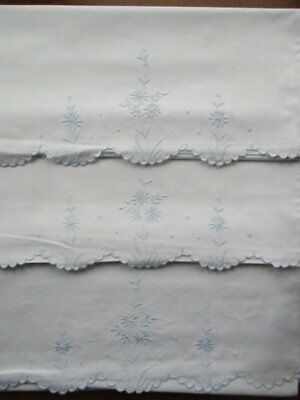 Pair Pretty Vintage Embroidered Blue Flower White Pillow Cases Bolster Cover Set
