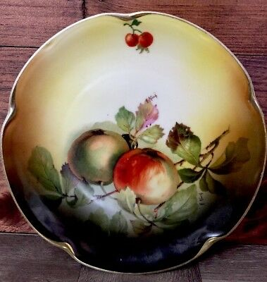 Vintage J&C Louise Bavaria Hand Painted Plate A. Kach Signed Fruit 8 1/2""