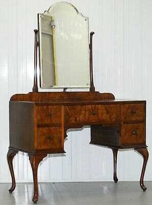 Edwardian Walnut Queen Anne Dressing Table With Bevelled Edge Mirror Lovely