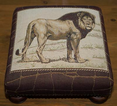 Lovely Small Liberty London Lion Embroidered Footstool Ottoman Very Decorative