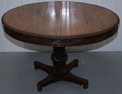 19Th Century Anglo Indian Hand Carved Tilt Top Padouk Breakfast Center Table
