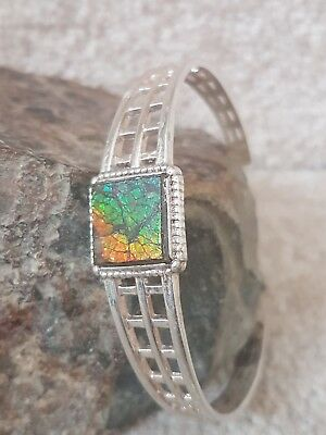 Amazing beautiful square ammolite cuff bracelet