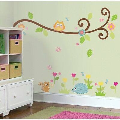 Scroll Tree Branch Owl Appliques - Decals, Baby, Nursery, Kids, Office