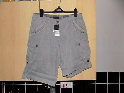 Ladies Modern Casual Next Combat Shorts Size Uk 14 Eur 42 Grey Bnwts Holiday