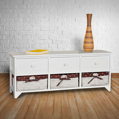 landhaus kommode schrank sideboard lowboard flur bad regal weiss 3 k rben grau eur 64 80. Black Bedroom Furniture Sets. Home Design Ideas