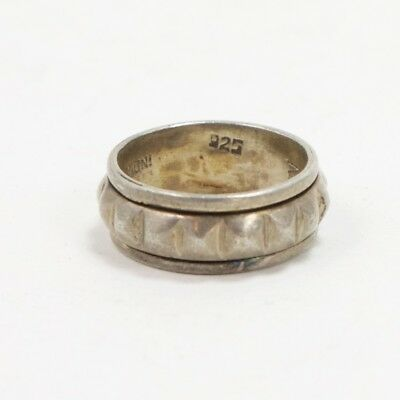 VTG Sterling Silver - Studded Spinner Band Ring Size 8 - 7g