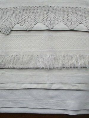 4 Vintage Cream White Huckaback Damask Guest Towels Lace Edge Drawn Thread Etc