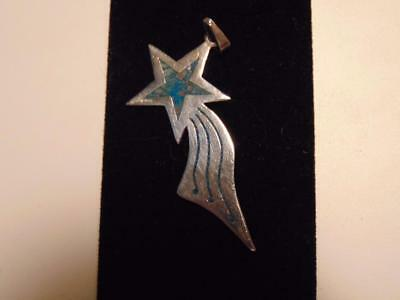 Vintage Mexico Sterling Silver & Turquoise Signed Shooting Star Pendant S&H FREE