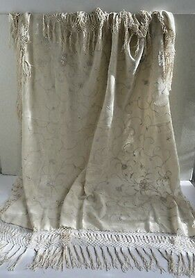 Antique Chinese silk shawl with reversible embroidery & silk fringe- Gorgeous