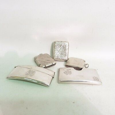 Job Lot Of Antique Hallmarked Silver Vesta's And Card Cases.