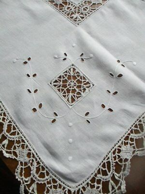 Beautiful Vintage Cream Linen Hand Worked Bobbin Lace Embroidered Tablecloth