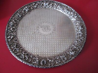 Antique   KIRK  REPOUSSE Decorated STERLING - SALVER /TRAY   9.2 toz  #5 of 11