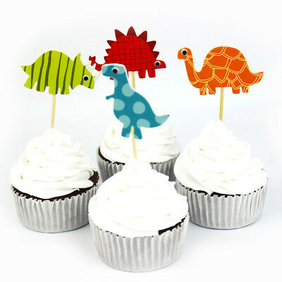 24pcs Dinosaur Toppers Picks CupCake Topper Baby Shower Birthday Party Decor MW
