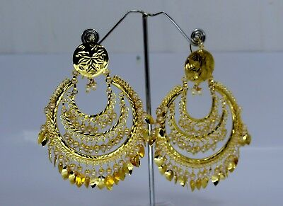 D1 Ethnic Latest Gold Plated Partywear  Dangler Wedding Earrings with Beads