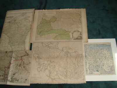 Lot 5 Antique Maps Wisconsin Asia Russia Austria Germany