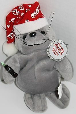 "COCA COLA Christmas SEAL 10"" Coke Plush Toy Collectible Snowflake Cap Bean Bag"