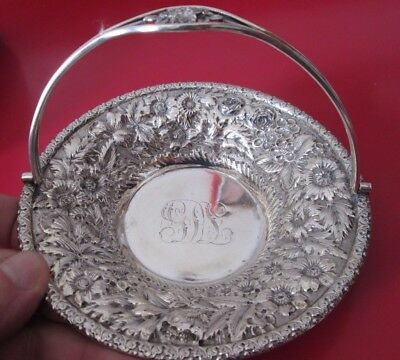 Antique JACOBI & JENKINS REPOUSSE Decorated STERLING  BASKET  5.7 toz  #8 of 11