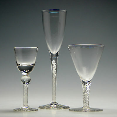 Three Opaque And Air Twist Stem Glasses c1920