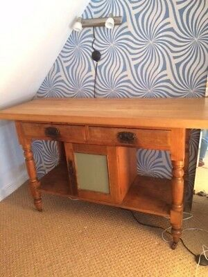 antique wash stand with new beech wood top
