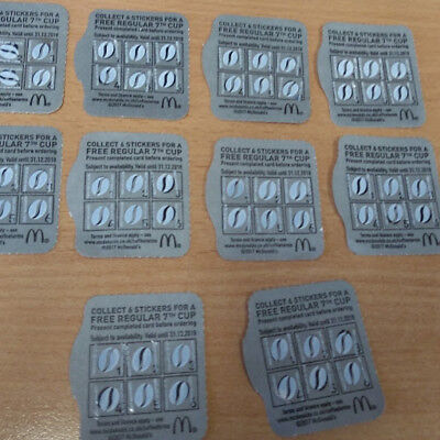 10 X Mcdonalds Loyalty Coffee Or Any Hot Drink Cards